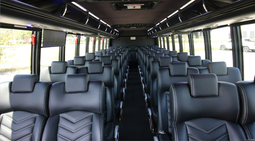 Charter Bus in Dallas with Leather Interior
