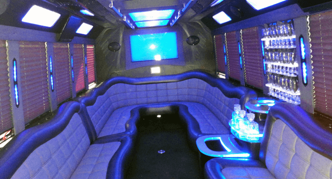 Party Bus Interior - Premier Transportation of Dallas
